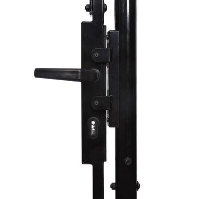 vidaXL Fence Gate Single Door with Arched Top Steel 3.2'x3.9' Black