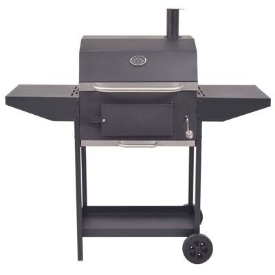 vidaXL BBQ Charcoal Smoker with Bottom Shelf Black