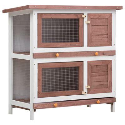 vidaXL Outdoor Rabbit Hutch 4 Doors Brown Wood