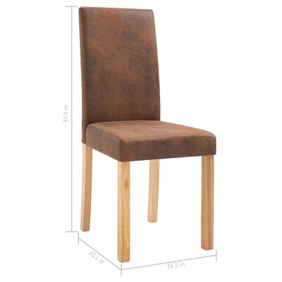 vidaXL Dining Chairs 4 pcs Brown Faux Suede Leather