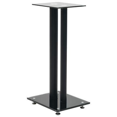 vidaXL Speaker Stands 2 pcs Tempered Glass 2 Pillars Design Black