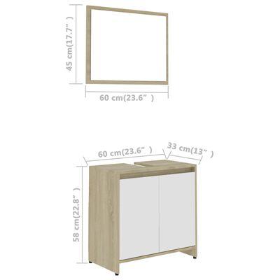 vidaXL Bathroom Furniture Set White and Sonoma Oak Chipboard