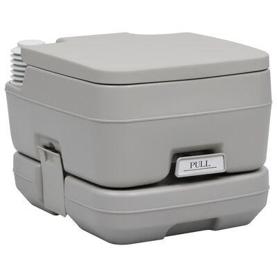 vidaXL Portable Camping Toilet Gray 2.6+2.6 gal