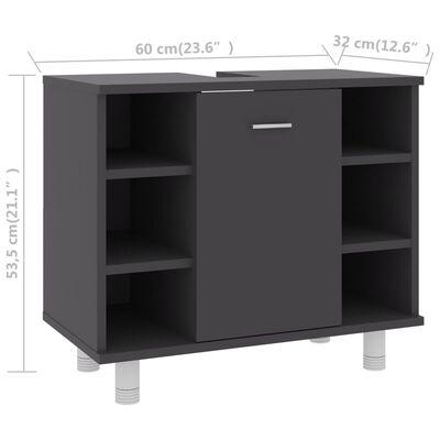 "vidaXL Bathroom Cabinet Gray 23.6""x12.6""x21.1"" Chipboard"