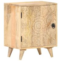 "vidaXL Carved Bedside Cabinet 15.7""x11.8""x19.7"" Solid Mango Wood"