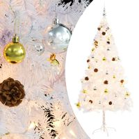 """vidaXL Artificial Christmas Tree with Baubles and LEDs White 70.9"""""""