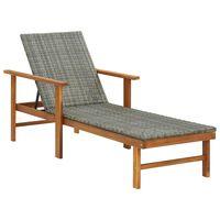 vidaXL Sun Lounger Poly Rattan and Solid Acacia Wood Gray