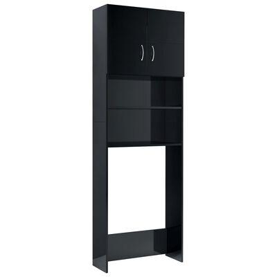 "vidaXL Washing Machine Cabinet High Gloss Black 25.2""x10""x74.8"""