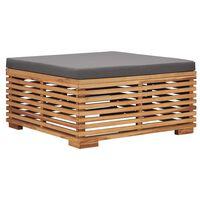 vidaXL Garden Footrest with Gray Cushion Solid Teak Wood