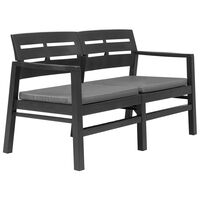 """vidaXL 2-Seater Garden Bench with Cushions 52.4"""" Plastic Anthracite"""
