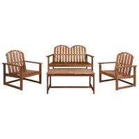 vidaXL 4 Piece Outdoor Lounge Set Solid Acacia Wood