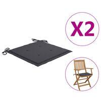 "vidaXL Garden Chair Cushions 2 pcs Anthracite 15.7""x15.7""x1.6"" Fabric"