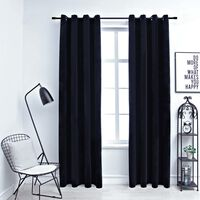 "vidaXL Blackout Curtains with Rings 2 pcs Black 54""x63"" Velvet"