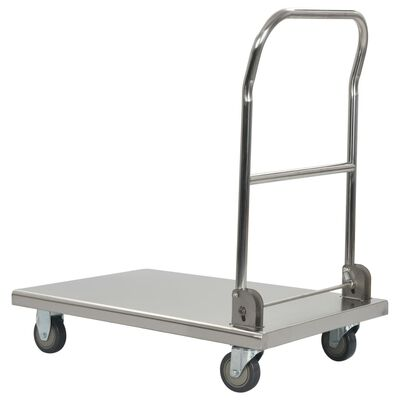 "vidaXL Platform Wagon Silver 32.3""x20.9""x33.9"" Stainless Steel"