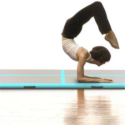 "vidaXL Inflatable Gymnastics Mat with Pump 236.2""x39.3""x3.9"" PVC Green"
