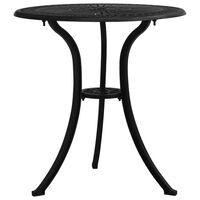 "vidaXL Garden Table Black 24.4""x24.4""x25.6"" Cast Aluminum"