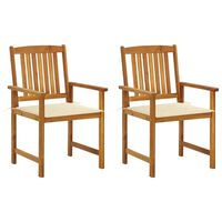 vidaXL Director's Chairs with Cushions 2 pcs Solid Acacia Wood