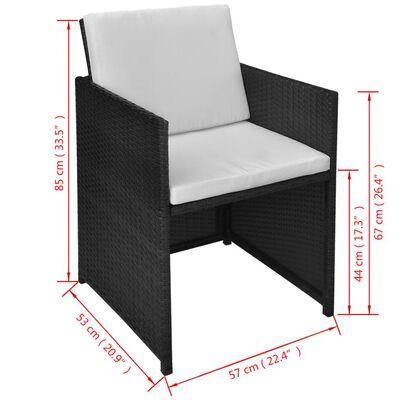 vidaXL 3 Piece Bistro Set with Cushions Poly Rattan Black