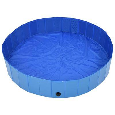 "vidaXL Foldable Dog Swimming Pool Blue 63""x11.8"" PVC"
