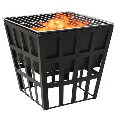 """vidaXL 2-in-1 Fire Pit and BBQ 13.4""""x13.4""""x18.9"""" Steel"""