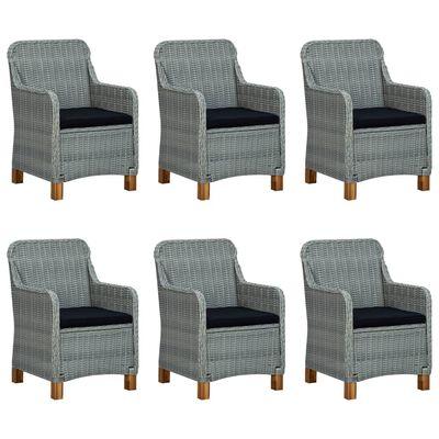 vidaXL 9 Piece Outdoor Dining Set with Cushions Poly Rattan Light Gray