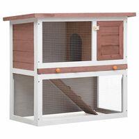 vidaXL Outdoor Rabbit Hutch 1 Door Brown Wood