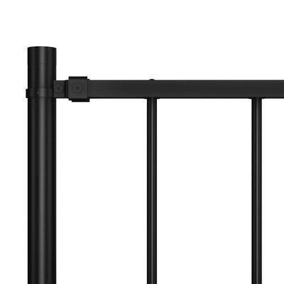 vidaXL Fence Panel with Posts Powder-coated Steel 5.6'x3.3' Black
