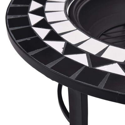 "vidaXL Mosaic Fire Pit Black and White 26.8"" Ceramic"