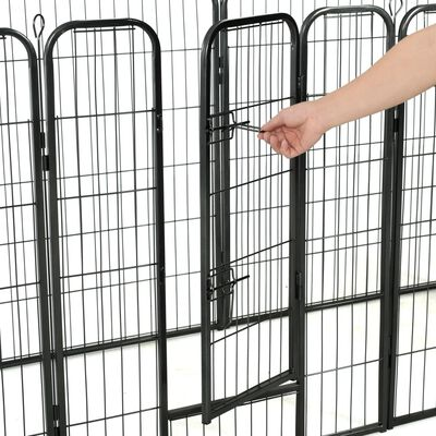 "vidaXL Dog Playpen 8 Panels Steel 31.5""x39.4"" Black"
