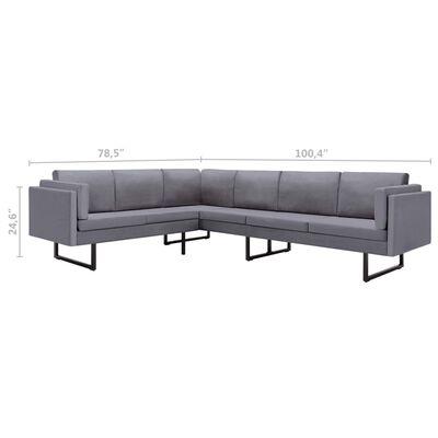vidaXL Corner Sofa Light Gray Fabric