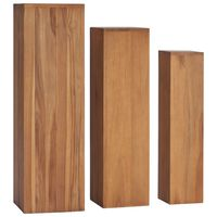 vidaXL 3 Piece Plant Stand Set Solid Teak Wood
