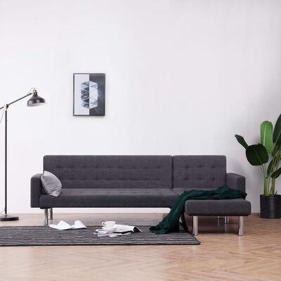 vidaXL L-shaped Sofa Bed Dark Gray Polyester