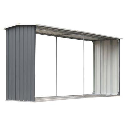 "vidaXL Garden Log Storage Shed Galvanized Steel 130""x36.2""x60.2"" Gray"