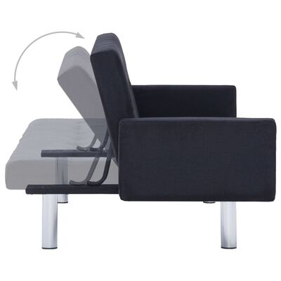 vidaXL Sofa Bed with Armrest Black Fabric