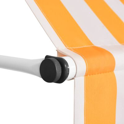 """vidaXL Manual Retractable Awning 98.4"""" Orange and White Stripes"""