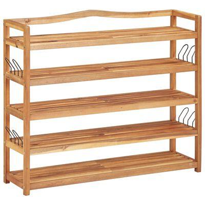 """vidaXL 5-Tier Shoe Rack 37.4""""x10.2""""x31.4"""" Solid Acacia Wood"""