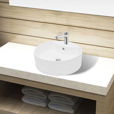 vidaXL Ceramic Bathroom Sink Basin Faucet/Overflow Hole White Round