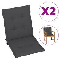 "vidaXL Garden Chair Cushions 2 pcs Anthracite 39.4""x19.7""x1.6"""
