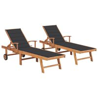 vidaXL Sun Loungers 2 pcs with Anthracite Cushion Solid Teak Wood