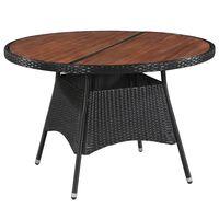 "vidaXL Garden Table 45.3""x29.1"" Poly Rattan and Solid Acacia Wood"