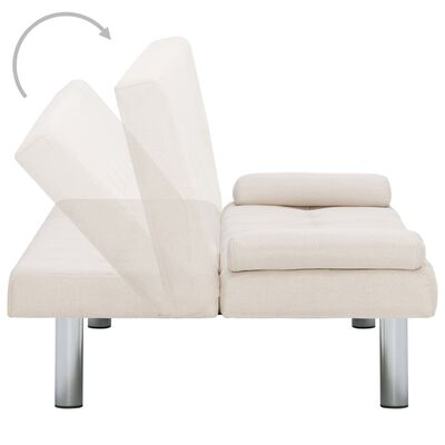 vidaXL Sofa Bed with Two Pillows Cream Fabric