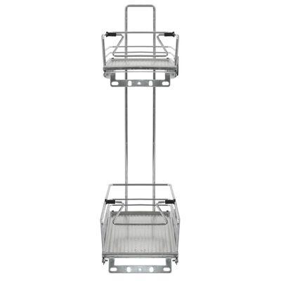 "vidaXL 2-Tier Pull-out Kitchen Wire Basket Silver 18.5""x5.9""x21.5"""