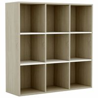 "vidaXL Book Cabinet White and Sonoma Oak 38.6""x11.8""x38.6"" Chipboard"