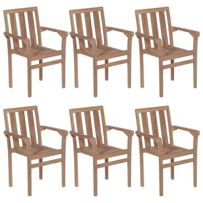 vidaXL Stackable Garden Chairs with Cushions 6 pcs Solid Teak Wood