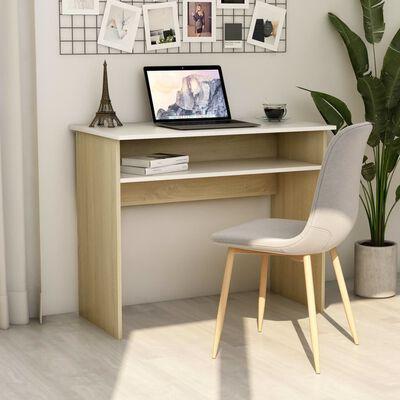 """vidaXL Desk White and Sonoma Oak 35.4""""x19.6""""x29.1""""Chipboard"""