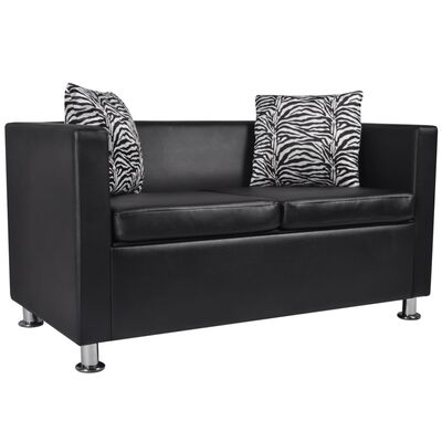 vidaXL Sofa Set Armchair and 2-Seater Black Faux Leather