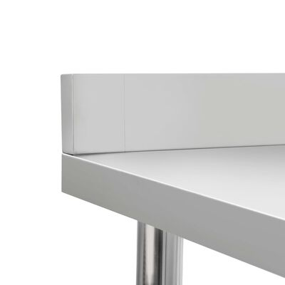 "vidaXL Kitchen Work Table with Backsplash 31.5""x23.6""x36.6"" Stainless Steel"