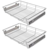 """vidaXL Pull-Out Wire Baskets 2 pcs Silver 31.5"""""""