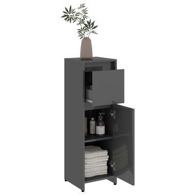 "vidaXL Bathroom Cabinet High Gloss Gray 11.8""x11.8""x37.4"" Chipboard"
