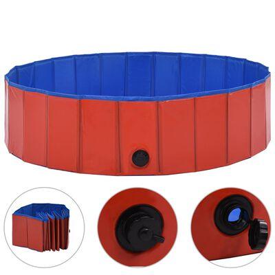 "vidaXL Foldable Dog Swimming Pool Red 47.2""x11.8"" PVC"